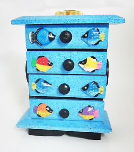 Details About Small Decorative Chest Of Drawers Storage Box Jewellery Box Hand Painted Fish