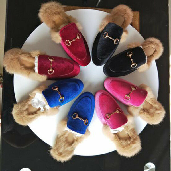 Donne Luxury Fur Mule Sandals Slides Slippers Leather Flat  Suede  in vendita