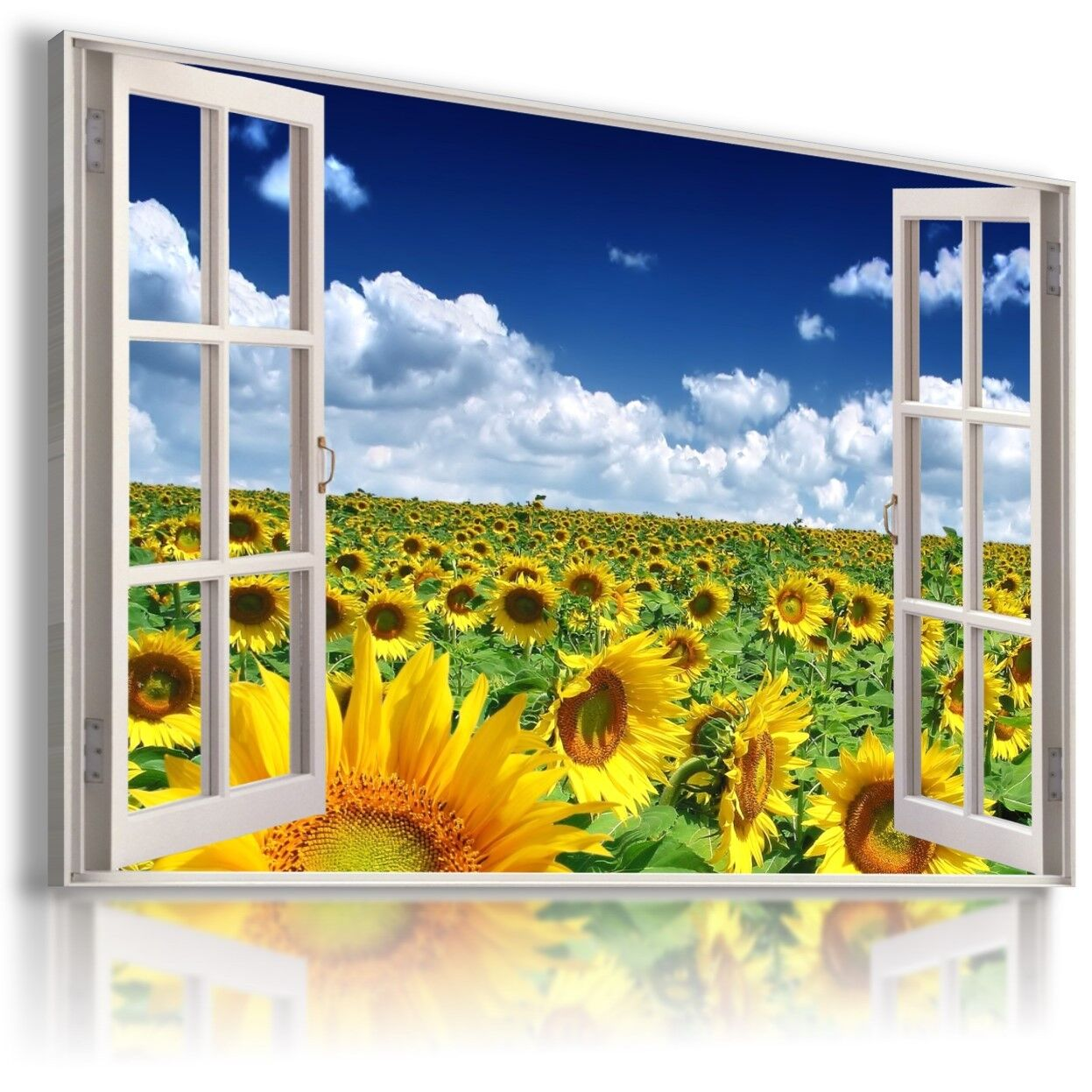 SUNFLOWERS FIELD FLOWERS 3D Window View Canvas Wall Art Picture Large W40 MATAGA