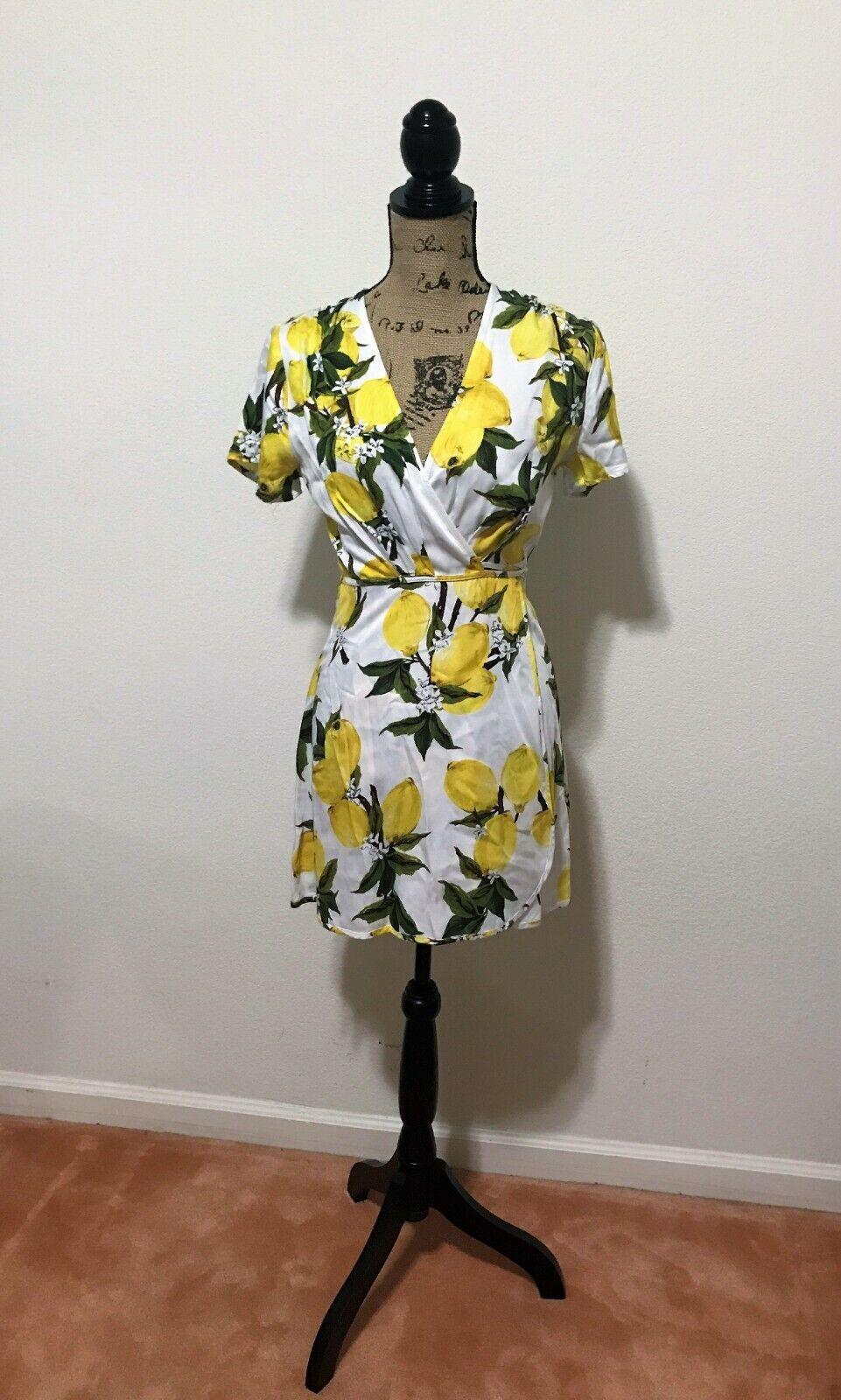 NWT Dress Forum Los Angeles Lemon Blossom Print Weiß Tie Wrap Summer Sundress S