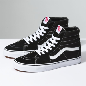 4743377f4bc416 New Vans Men Women Shoes SK8 Hi Black White Canvas Suede Skateboard ...