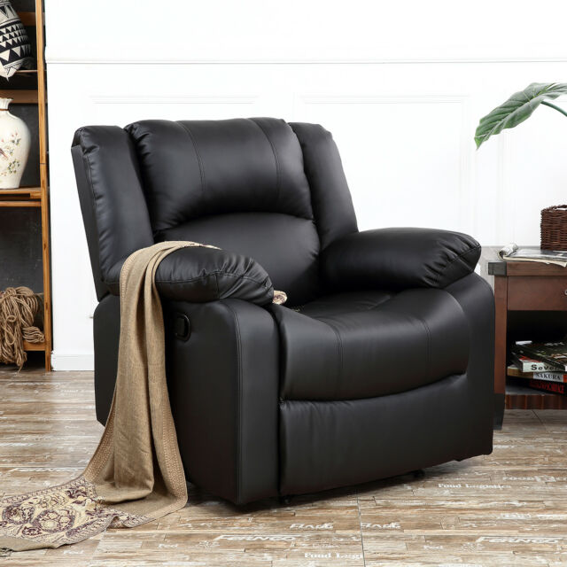 Marvelous Classic Bonded Leather Oversize Padding Recliner Chair TV Room Theater,  Black