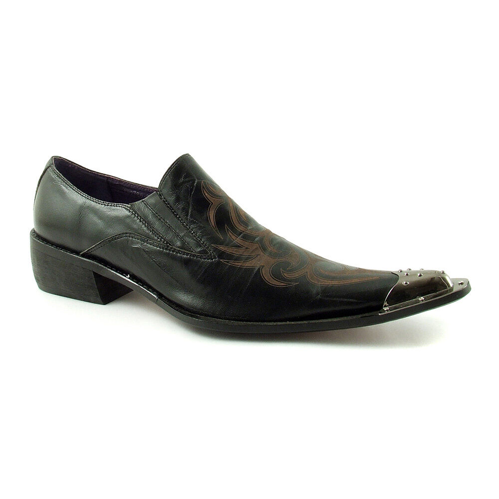 Gucinari Sayer Black Leather Men Classic Shoes Brown Pointed Steel Cap Toe