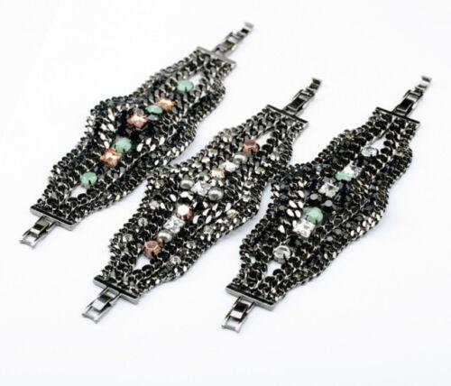 Bracelet Vert Jaune Large Metal Noir Cristal Chaine Original Soirée Mariage CT1