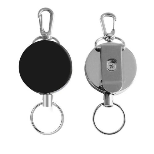 2PCS Heavy Duty Metal Wire 60cm Retractable Key Chain Ring Clip Keyring Gift US