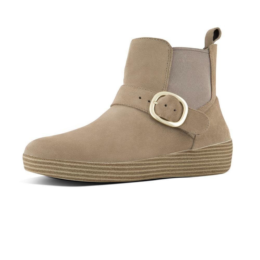 FitFlop Chelsea SUPERBUCKLE™ Suede Boots color Desert Taupe Size 8 NEW