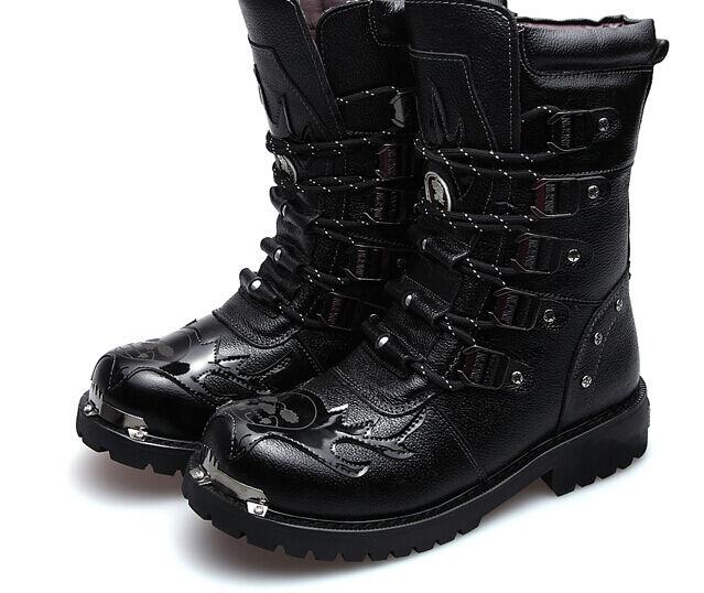 New Men Metal Punk High Top Miliary Combat Motorcycle Hidden Heel Mid Calf Boots