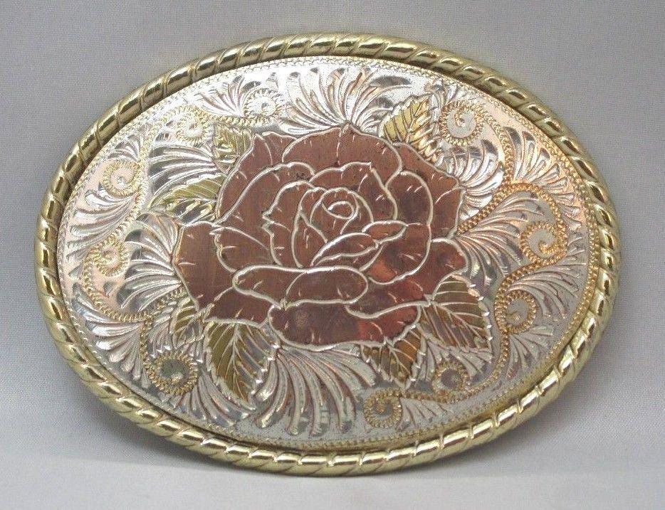 MADE IN USA LADIES BELT BUCKLE 3-TONE ETCHED FLOWER ROSE DESIGN & W HALLMARK **