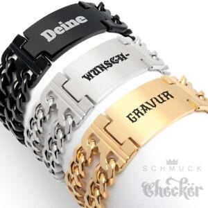 Herren-Armband-Wunsch-Gravur-Edelstahl-Panzerarmband-Breit-Bikerschmuck-Geschenk