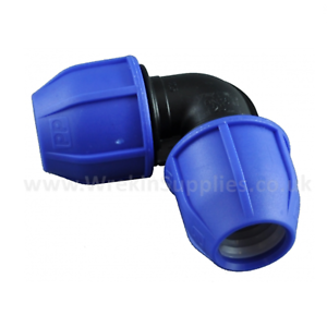 EQUAL 90° BEND* MDPE Elbow Plastic Compression Fitting Water Pipe WRAS Connector