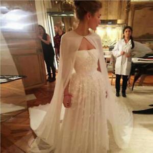 White-Ivory-Long-Chiffon-Wedding-Cape-Jacket-Bolero-Women-Bridal-Accessories