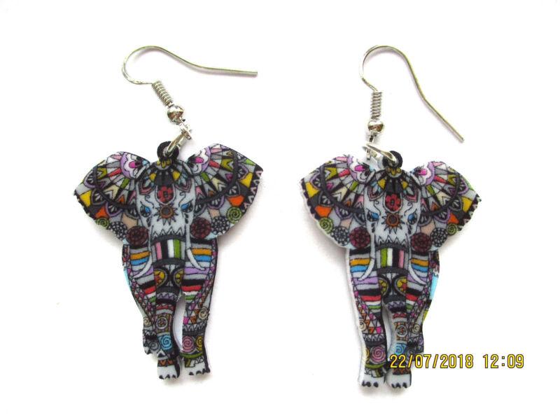 Acrylic Elephant Dangle Earrings
