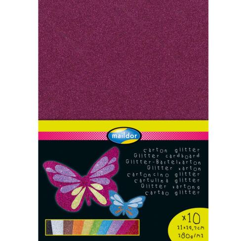 Maildor Glitterkarton 280 g//m² DIN-A4 in 10 verschiedenen Farbtönen Karton