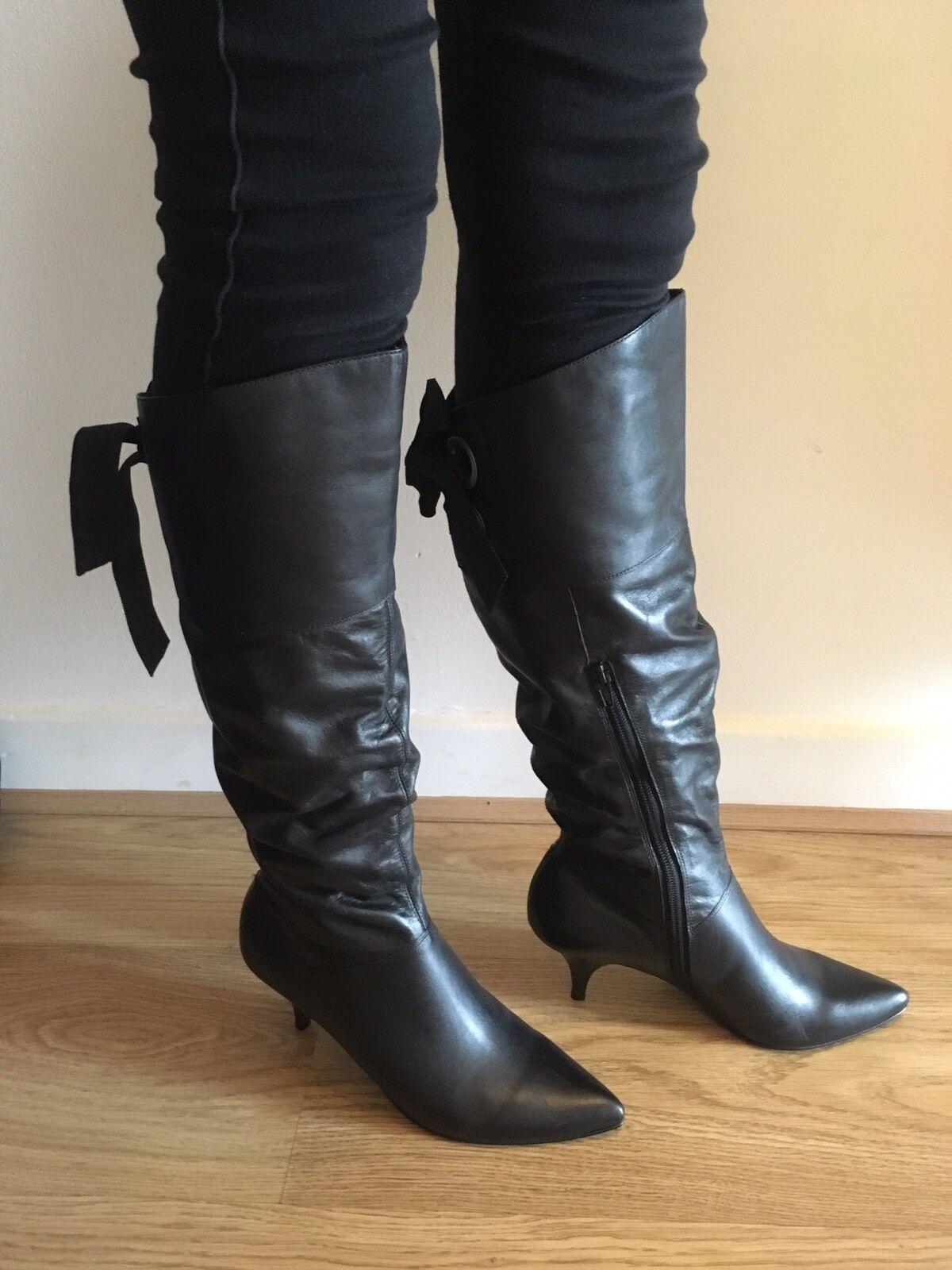 Nouvelles Bottines Femmes Dune Dune Dune Hautes En Cuir Bottes Bow Tie Up Back Zip-taille 5 convient taille 4 2c7602