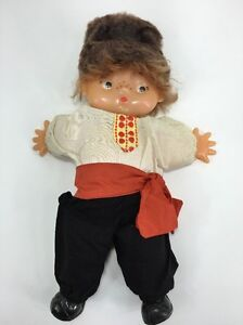"""Vintage Russian Doll google eyes 16"""" Boy Freckles Moscow 1979"""