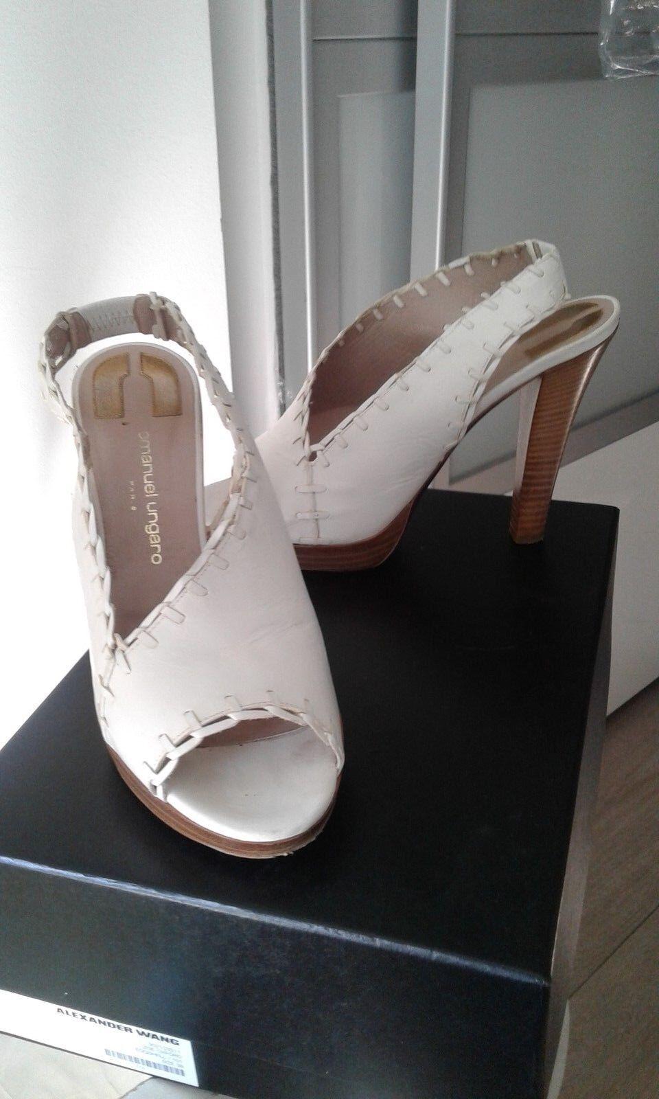Damen Leder Schuhe UNGARO  Gr 39 EMANUEL UNGARO Schuhe Weiß orig Preis ca  neuwertig da1657