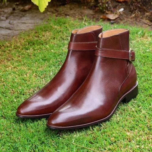 botas De Cuero Marrón Pantalones de hombre hecho a mano Hombres Tobillo Alto botas De Cuero Real