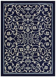 Persian Veronica Navy Scroll Traditional Area Rugs Carpet
