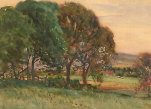 Early-20th-Century-Watercolour-Farmland-Landscape-View