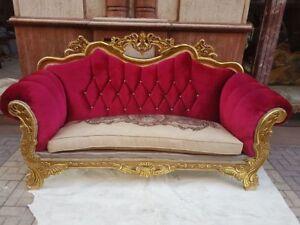 Divano Tessuto Floreale : Divano posti in legno foglia oro e tessuto rosso e panna con