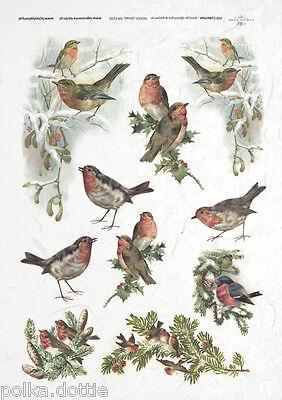 Rice Paper Decoupage Scrapbook Vintage Christmas Robins Birds Trees Shabby Chic