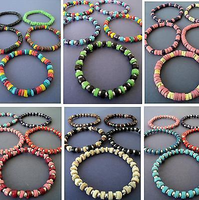 BEAD BRACELET WRISTBAND SET wood bead surf bracelets elasticated WHOLESALE LOTS