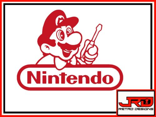 Mario with Screw Driver Vinyl Sticker in Red