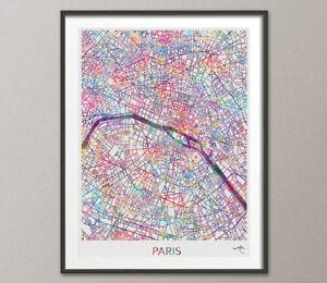 Paris City Map Print Watercolor Art Print Wall Art France Paris