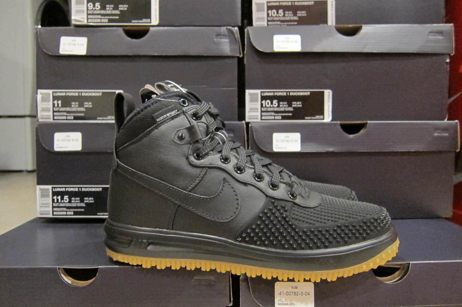 b0017987004 Nike Lunar Air Force 1 DuckBoot Black Wheat Gum Bottom 805899 003 Men Size  7-