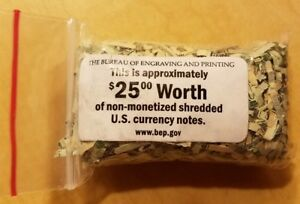Shredded Currency-Cash-Shredded Money #3 Three Mini Pod Containers of $ U.S.A