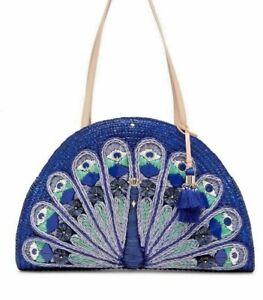 "KATE SPADE Peacock ""Full Plume"" Straw Handbag Shoulder Bag NWT Wicker Tote Lg"