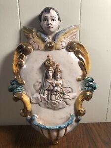 VTG-LARGE-Ceramiche-Perconte-Wall-Holy-Water-Font-CATHOLIC-Virgin-Mary-Jesus-14-034