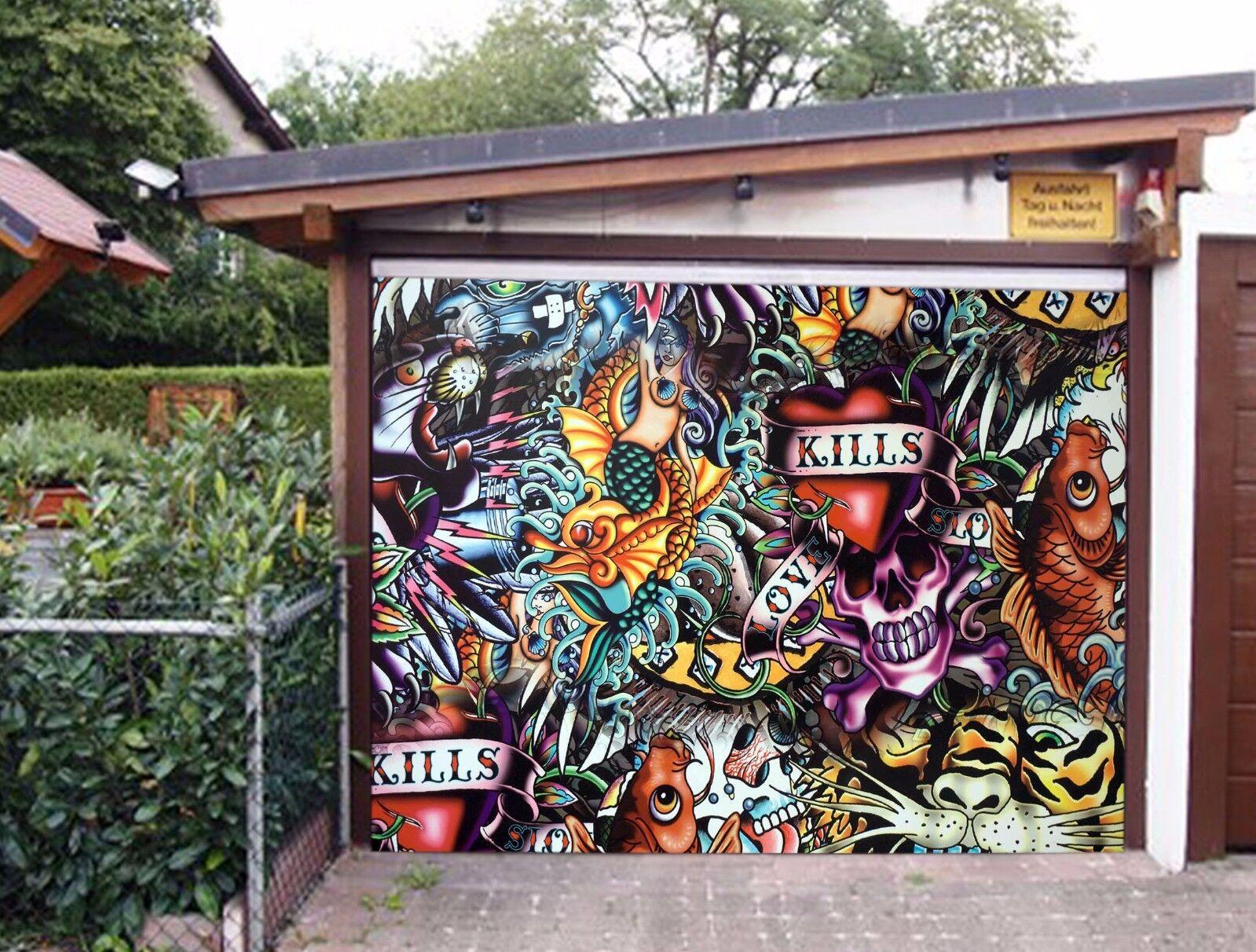 3D Farbe Skull Fish 5 Garage Door Murals Wall Print Wall AJ WALLPAPER UK Lemon