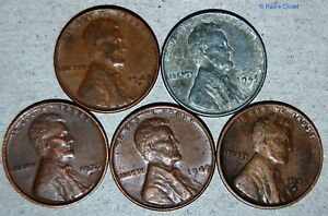 ONE-1943-STEEL-WHEAT-PENNY-amp-FOUR-COPPER-WHEAT-VARIED-YR-MINT-MRKS-CIRC-UNSEARCH