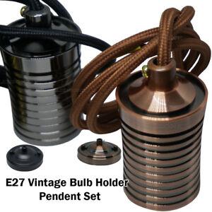 Vintage-Style-Edison-Bulb-Lamp-Holder-E27-Pendent-Set-Ceiling-Rose-Colours