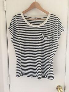 Splendid-Women-s-Dark-Navy-Blue-Stripe-T-Shirt-Blouse-Top-Sz-L-NWT-MSRP-58