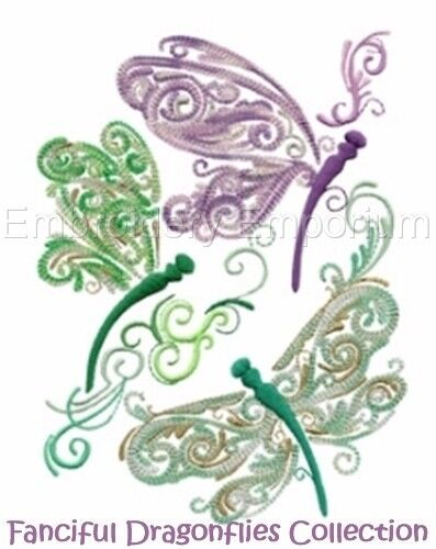 MACHINE EMBROIDERY DESIGNS ON CD OR USB FANCIFUL DRAGONFLIES COLLECTION