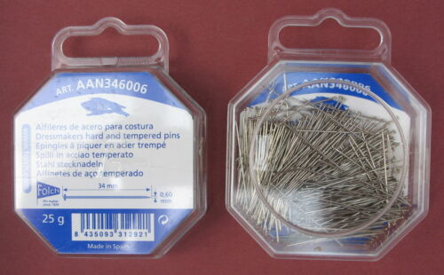 34mm x 0.60mm  25g  FINE LONG CARBON HARD STEEL DRESSMAKERS DRESSMAKING PIN