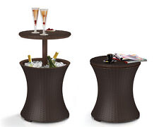Keter 7.5-Gal Rattan Outdoor Cool Bar Patio Pool Cooler Table, Brown
