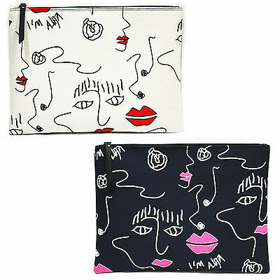Korea Women LIPS Clutch Pouch Bag Handbag Purse Faux Leather Polyester Large NEW