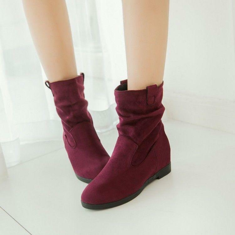 New Womens Faux Suede Hidden Wedge Heels Pull On Slouch Ankle Boots Size BT01