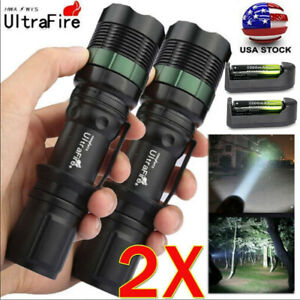 2XUltrafire  3Modes Zoomable 20000Lumens Tactical LED Flashlight Torch Lamp US