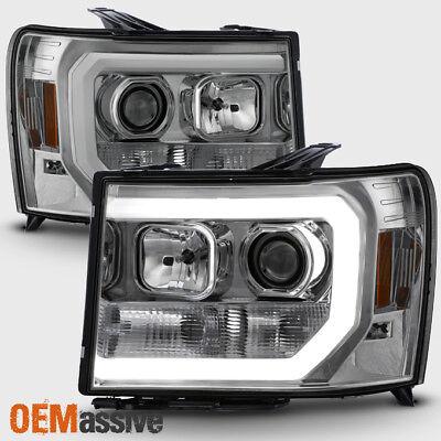 Fit 2007-2013 GMC Sierra 1500 Denali 2500HD 3500HD Clear Headlights Lamps Pair