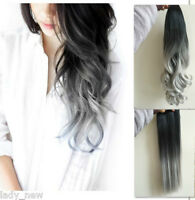 "17 22"" Straight Curly Wavy Clip in Hair Extensions & Ponytail Ombre Silver Grey"