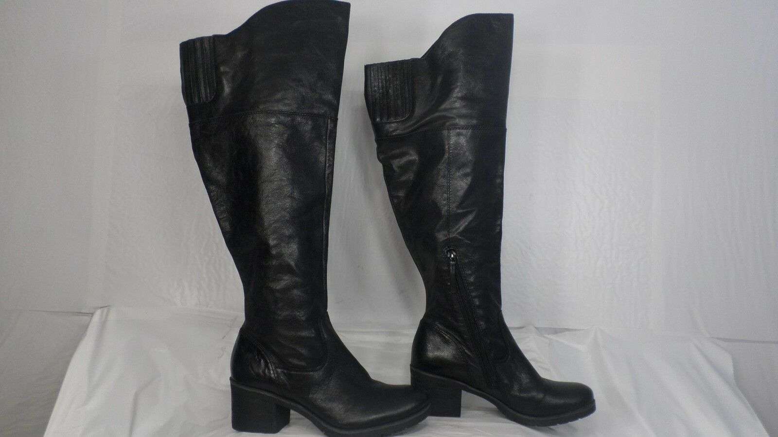 Naya 'North' Black Leather Wide Shaft Over-the-Knee Pull-On Boot Women Size 6.5