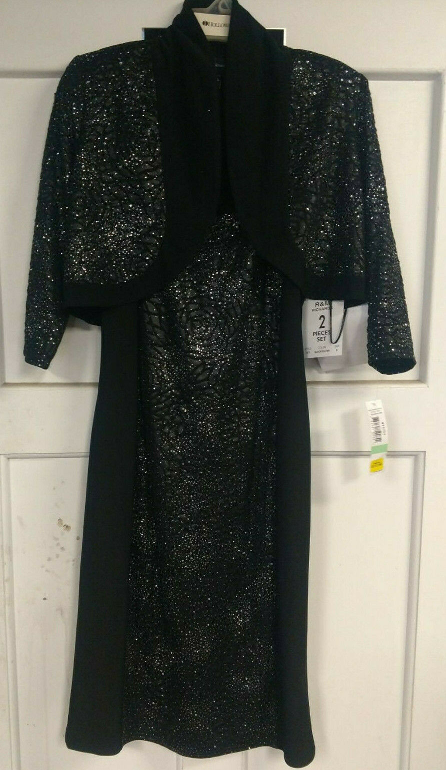 R & M RICHARDS Dress & Jacket Size 8 Black Blingy Mother's/Party NWT
