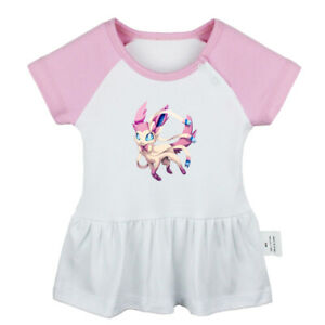 Cartoon-Sylveon-Pattern-Newborn-Baby-Girls-Dress-Toddler-Infant-Cotton-Clothes