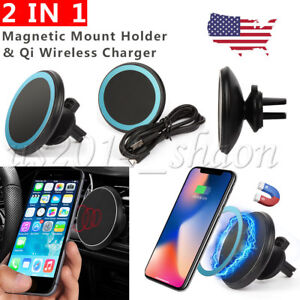 2-IN-1-Qi-Wireless-Charger-Magnetic-Car-Mount-Holder-For-iPhone-X-8-Samsung-S8