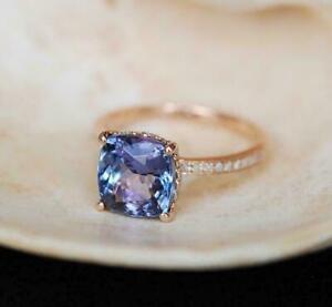 2-50-Ct-Cushion-Cut-Tanzanite-Wedding-Engagement-Ring-18k-Rose-Gold-Over-Silver