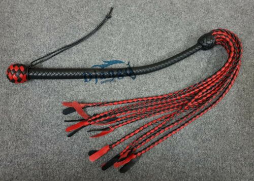"""Hand Made Cat O/' 9 Tails Quality Genuine Leather Braided Flogger//whip 36/"""" Long."""